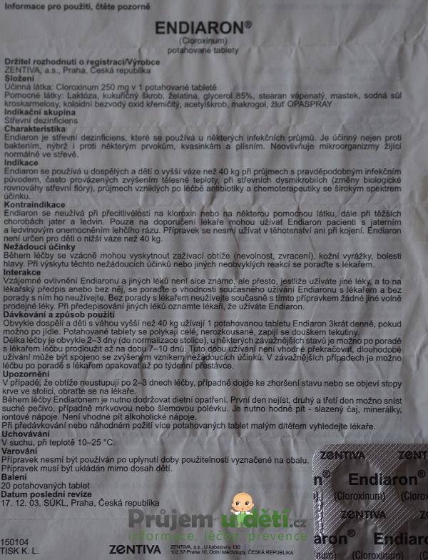 vyfocená papírová verze příbalového letáku pro Endiaron proti průjmu