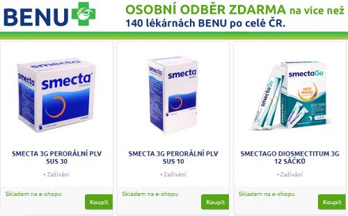 Různá balení Smecta proti průjmu v lékárně Benu